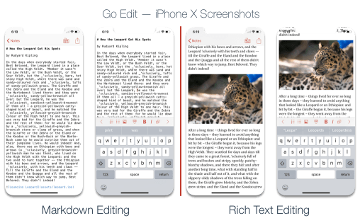 Go Edit editing mode in iPhone X