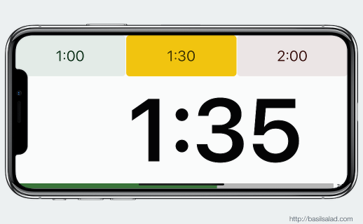 Speech Timer on iPhone X landscape — timer screen at yellow time mark