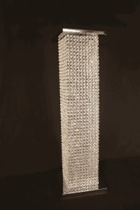 GX8840 Crystal Square Column | Basket and Flowers