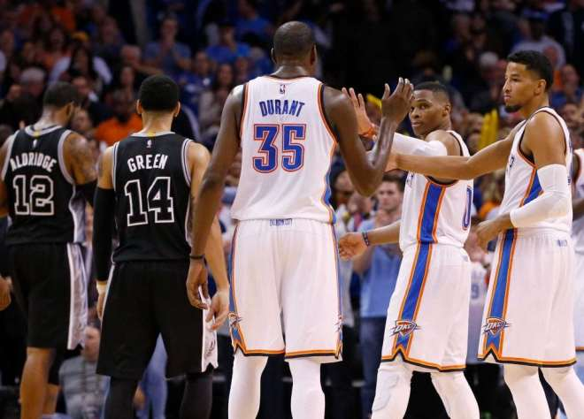 Kevin Durant, Russell Westbrook, and Andre Roberson