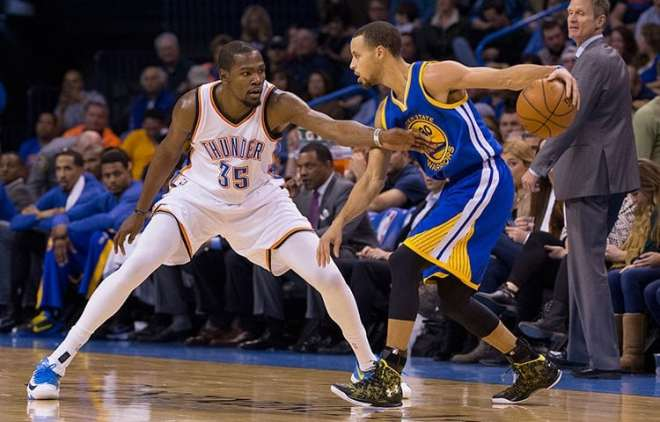 Steph Curry an Kevin Durant