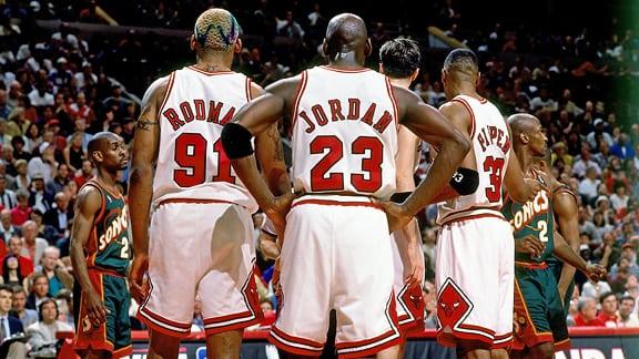 Dennis Rodman, Michael Jordan, Scottie Pippen, Chicago Bulls