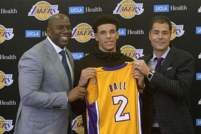 Lonzo Ball, Magic Johnson, Rob Pelinka, Los Angeles Lakers