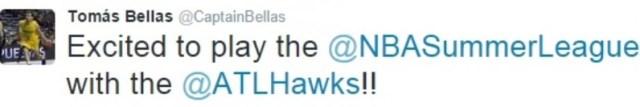 twitter - tomás bellas - liga de verano Atlanta Hawks