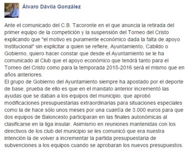 alcalde tacoronte - cb tacoronte - facebook