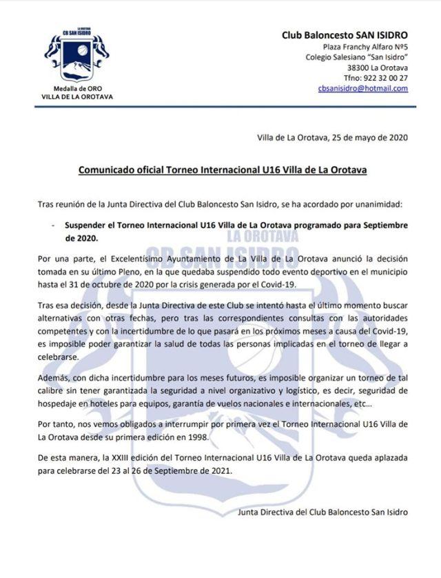 Comunicado de suspensión del #U16Orotava2020