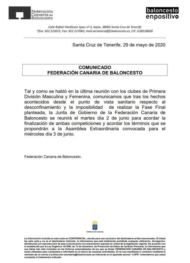 Comunicado de la Federación Canaria de Baloncesto