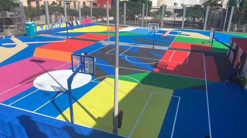 Colorido diseño para la Cancha Pisaca de Santa Cruz de Tenerife