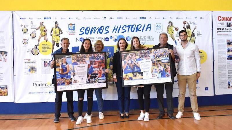 El CB Islas Canarias homenajeó a Leonor Rodríguez y Maite Cazorla, campeonas de Liga Femenina