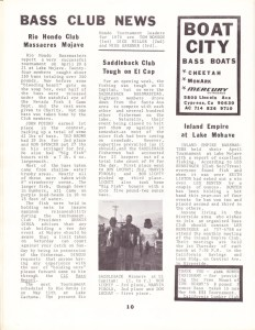May 1974 Bass Club News from the California Lunker Club newsletter - page 1.