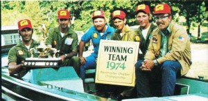 1974 BASS Chapter Championship winning team – Missouri. Pictured (L-R) Evon Austin, Charlie Campbell, John Haley, Gary Wilkerson, Bud Bartold and Bill Clements. Photo Sept/Oct 1974 issue of Bassmaster Magazine.