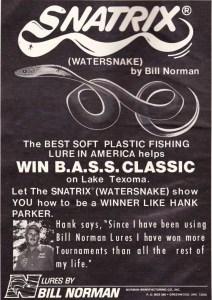 1979 Bill Norman Lures Snatrix ad featuring Hank Parker, winner of the 1979 Bassmaster Classic.