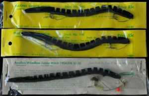 DeLong Junior Witch and Axalive Weedless Junior Witch plastic worms in original packaging circa 1950s to 1960s.