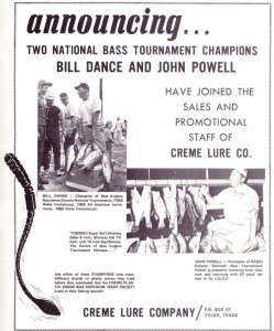 Creme Worm ad from 1969 featuring Bill Dance and John Powell.