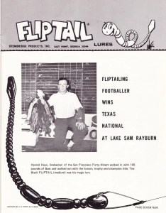 1969 Flip Tail ad featuring Harold Hays after winning the 1969 Bassmaster Texas Invitational.