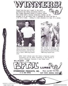 1969 Flip Tail ad featuring San Francisco 49er Harold Hays who won the 1969 Bassmaster Texas Invitational on Sam Rayburn and Pete Henson who won the Bassmaster Rebel Invitational.