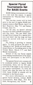 Ray Scott was also determined to reach out to fly fishermen in 1975. Mar/Apr 1975 issue of Bass Master magazine.