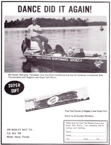 1969 Bagley's Super Soft worm ad featuring Bill Dance without his famous UT hat.