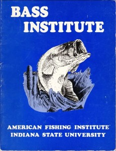 1980 Bass Fishing Institute workbook put out by the American Institute of Bass Fishing and Indiana State University.