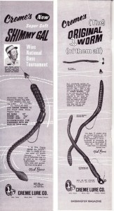 """1969 Creme Lure Company ads featuring their Shimmy Gal and Original Nightcrawler. Notice they call the Texas Rig the """"Self Weedless"""" rig."""