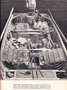 A snapshot of Jason Lucas' bass boat and tackle from 1956.