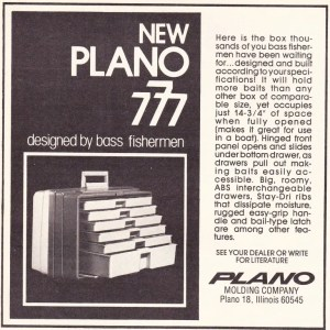 Early 1976 Plano 777 tackle box ad.