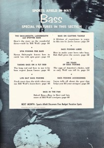 Table of Contents for the May 1956 Bass Issue of Sports Afield magazine.