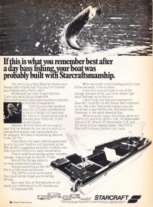 Here's a noteworthy ad for long-time boat maker StarCraft. Normally you don't associate Bill Dance with anyone other than Bass Pro Shops, Tracker Marine and Nitro. But during his early years, one of his first boat sponsors was StarCraft (If I'm not mistaken, I think he was with Ranger prior to this and would then move on to Hydra-Sports). Anyway, StarCraft is featuring their 16-foot pro model and from the looks of it, it was a pretty nice boat. It had a rod locker that could accommodate 7-foot rods and a nice overall layout. Not much other information is given, like overall dimensions and ratings but they do state that they offer an 18-foot model, which might have been the first 18-footer available in the industry.