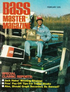 Jack Hains holds the 1975 Classic trophy. Photo Cover of February 1976 issue of Bassmaster Magazine.