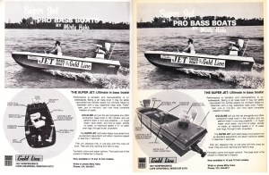 Here's a doosey for you – the Gold Line Jet Bass Boat. Made by Mirly Hahs of Cape Girardeau, MS, the Gold Line is as much of a tank as it appears. Although there is no information on the power plant, just looking at the back deck one can see exactly how much space is wasted by the motor. Not only that, the rear angler appears to be a good 2 feet off the water. There are no specifications on the boat models, only stating they offer 16- and 18-footers. In their claims they say the boat can go anywhere and everywhere with their 2-inches of draft at full speed. Does anyone know how long this company was in the jet bass boat business and did they ever fix their layout problems?