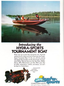 Okay, now we're rolling. This was Hydra-Sports first year advertising in the national magazines and I'm sure this ad really had heads turning. Although the ad doesn't say much at all about the boat, the company or models offered, the picture says it all. This is probably the first boat ad I've seen where the boat actually looks like a contemporary boat of today – and it appears to be blazing down the lake. The console is placed further aft than other boats we've seen, the modified tri-hull design seems efficient, and the interior appears to have ample room for the tournament angler. And check out their pro-staff list, which included Stan Sloan, Bobby Murray, Billy Westmorland and Glin Wells. The ad may have left out a lot of information but it creates a mystery that makes you want to know more about the boat and the company.