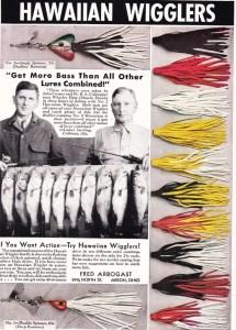 Arbogast Hawaiian Wiggler ad circa 1940.