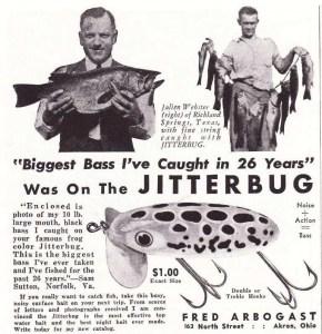 Arbogast Jitterbug ad circa 1940.