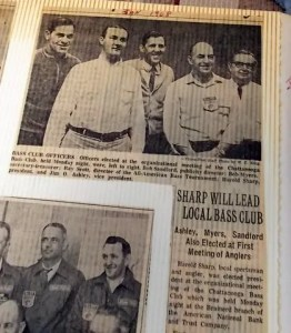 January 1968 Chattanooga Times newspaper clipping showing the start of the Chattanooga Bass Club and the first B.A.S.S. patch being given out to Harold Sharp. Photo courtesy of Harold Sharp.