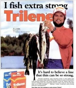 Can you see the error in this 1980 Berkley Trilene ad featuring Al Lindner, or is it Linder?