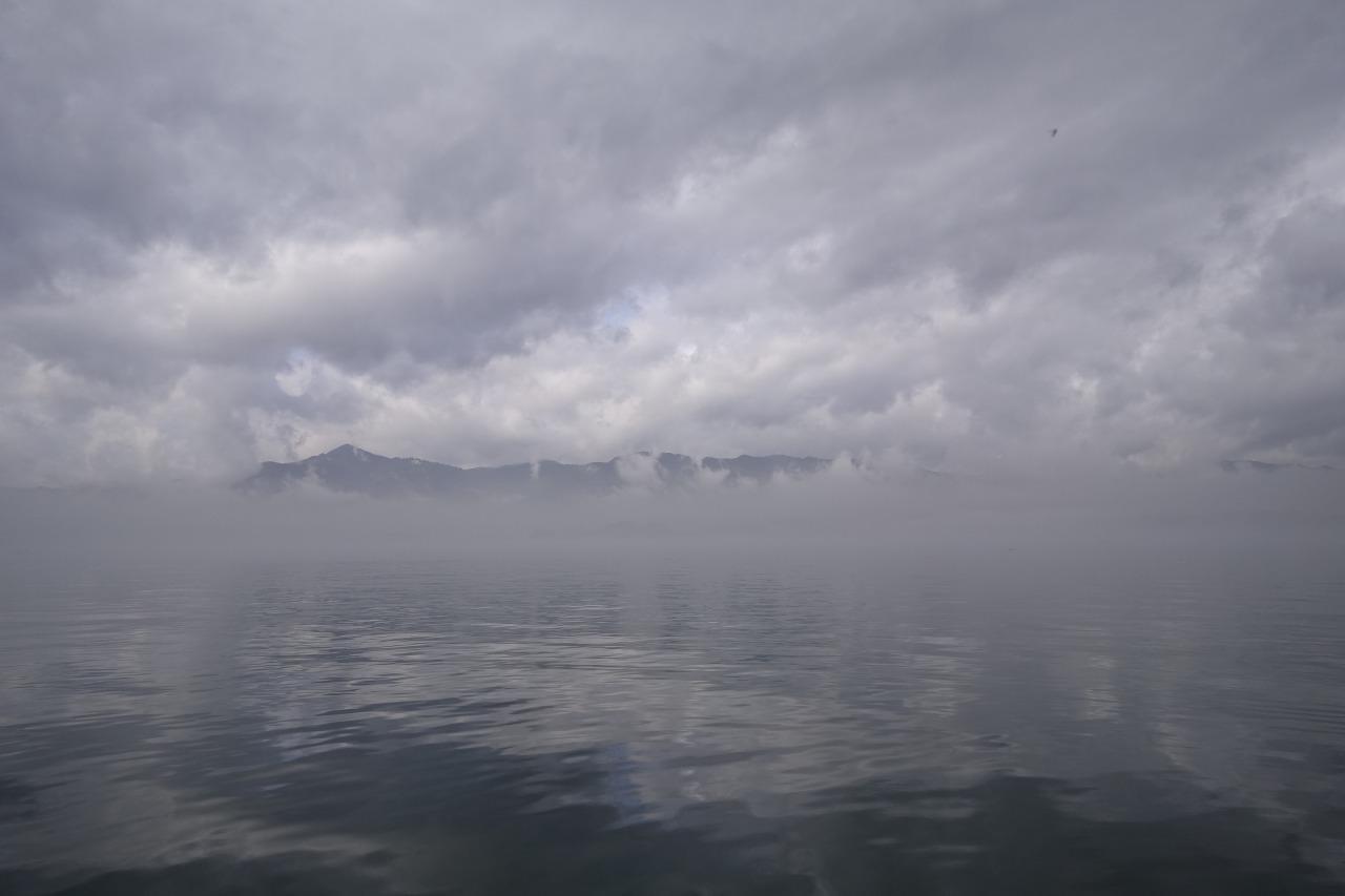 霧の下物沖