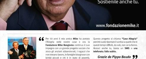 """Con il progetto """"Casa Allegria"""" Fondazione Mike a sostegno delle fasce più deboli"""