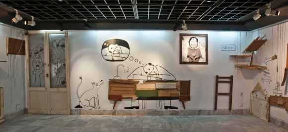 Mixed media site-specific installation. 2013 Photo courtesy of Adham Bakri