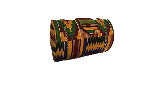 10446e4dfc Multi Color Genuine African Kente Cloth Hard Body Clutch Purse Plus Chain  Strap