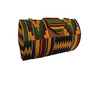 Multi Color Genuine African Kente Cloth Hard Body Clutch Purse Plus Chain Strap