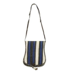Off White Stripes Cotton Shoulder Bag with Leather, 'Bawku Splendor'