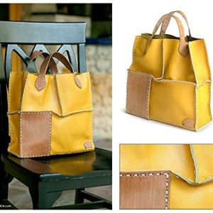 NOVICA Yellow Leather Handbag, 'Urban Safari in Yellow'
