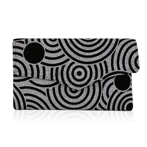 Authentic African Hand Made Silver, Grey and Black Geometric Envelope Clutch (Kenya)