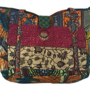 Amma Jo Messenger Crossover Tote Handbag Purse - Multicolored - Made in Ghana