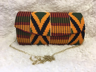 79e650610704 Multi Color African Kente Print Hard Body Clutch Purse Plus Chain Strap