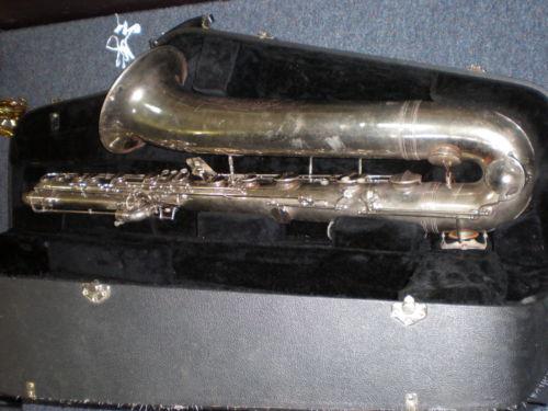 Martelle bass saxophone, in case