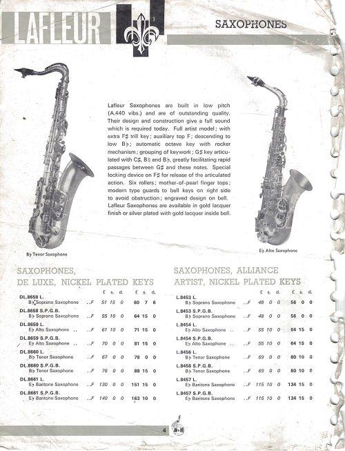 Lafleur saxophones, price list, vintage, Boosey & Hawkes, stencil sax,