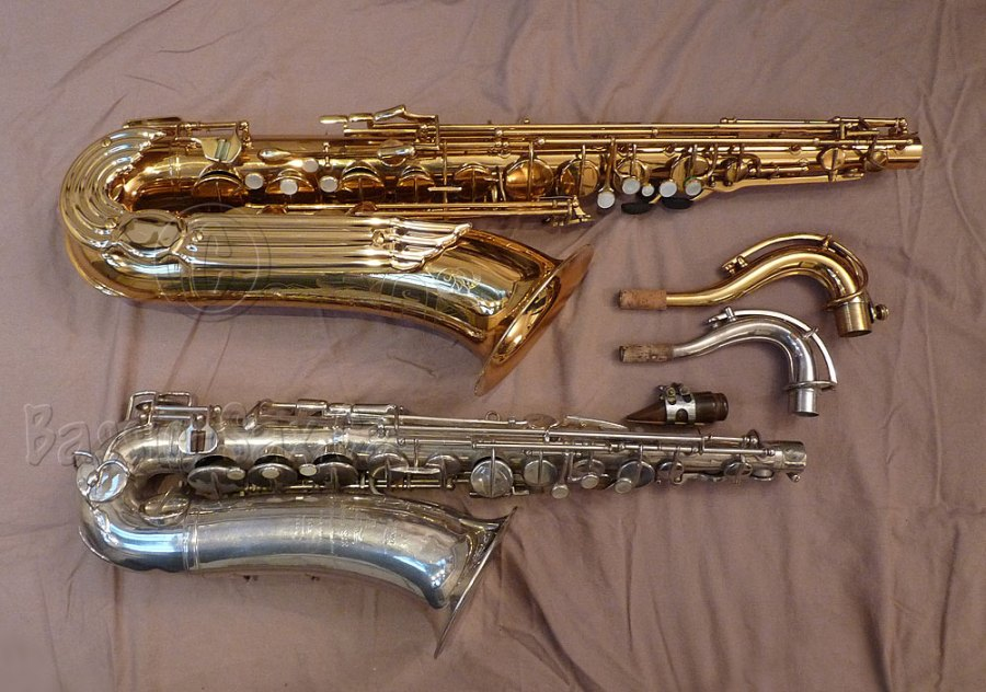 Adolphe Edouard, C-pitched, tenor saxophone, Julius Keilwerth, Toneking Bb tenor, gold, silver, beige, sheet, sax necks, sax mouthpiece