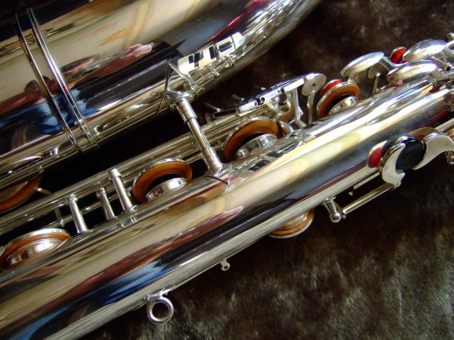 baritone saxophone, low A bari, Weltklang bartione saxophones, silver plated, vintage, East German
