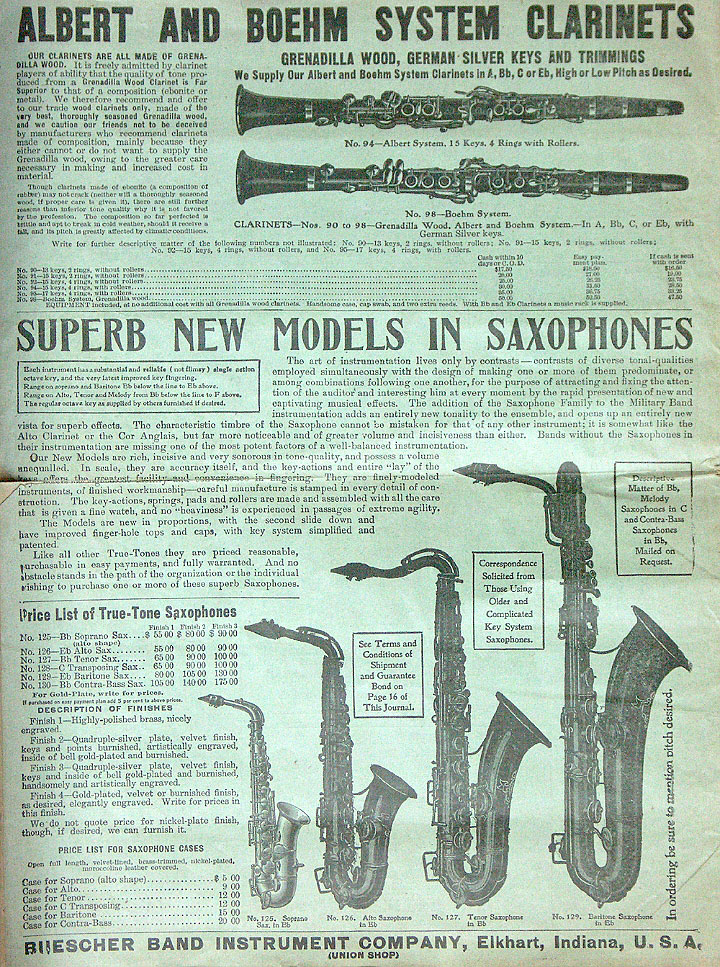 July 1909 Edition of the Buescher Journal True-Tone, vintage music journal, Buescher, True Tone saxophones, True Tone Albert and Bohem System clarinets